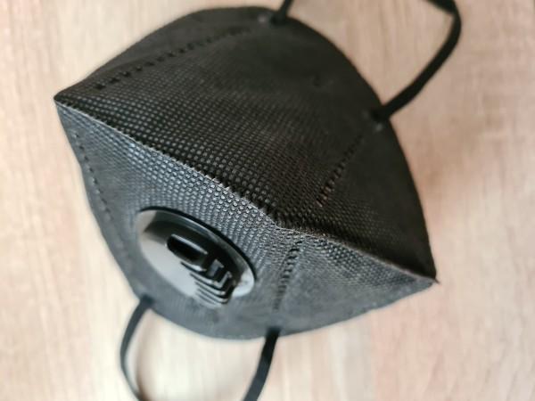 Atemschutzmaske-50 Stück mit Ausatemventil inklusive Versand-schwarz